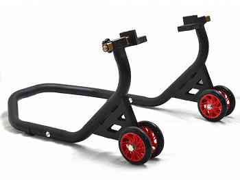 Rear Lift-up Stand moto with Rubber Plate Supports Universal Rubber Wheels