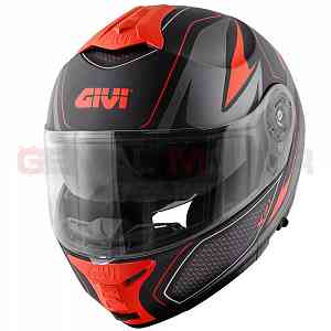 Givi Helmet Man X21 Challenger Flip-up Black - Titanium - Red HX21FSHBR