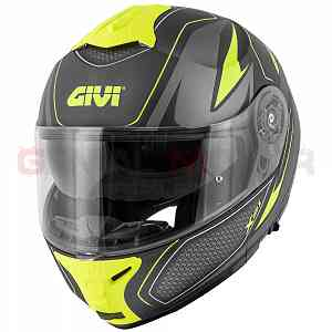 Givi Helmet Man X21 Challenger Flip-up Black - Titanium - Yellow HX21FSHBT