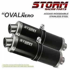 Exhaust Storm by Mivv black Mufflers Oval Steel for Yamaha Xt 660 X/r 2004 > 2016