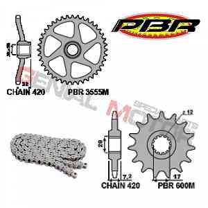 EK134 Chain and Sprockets Kit 12 / 44 / 420 PBR APRILIA RS EXTREMA 1995 > 1998