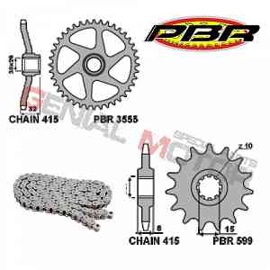 EK130 Chain and Sprockets Kit 13 / 43 / 415 PBR APRILIA RS EXTREMA 1992 > 1994