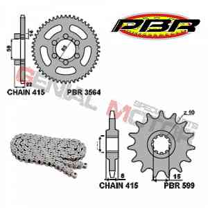 EK131 Chain and Sprockets Kit 12 / 46 / 415 PBR APRILIA RED ROSE CLASSIC 1992 > 2005