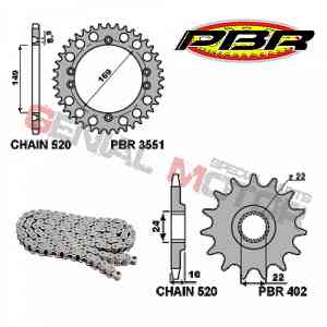 EK158 Kit Trasmissione PBR Catena Corona Pignone 14 / 42 / 520 PBR APRILIA RALLY 1986 > 1987